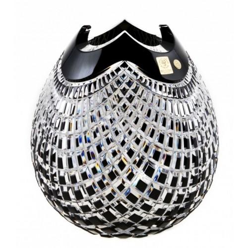 Krištáľová váza Quadrus, farba čierna, výška 280 mm