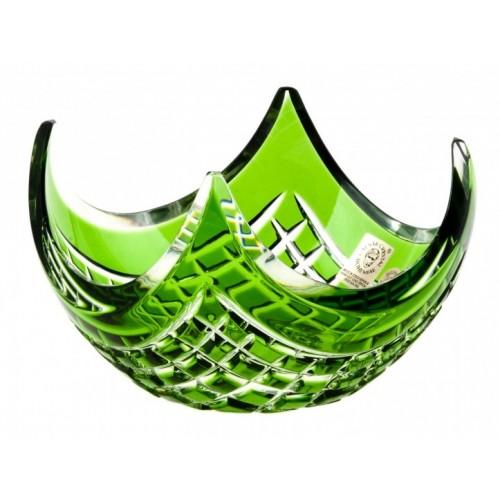 Krištáľová miska Quadrus, farba zelená, priemer 140 mm