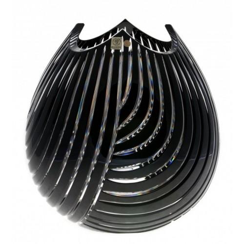 Krištáľová váza Linum, farba čierna, výška 280 mm