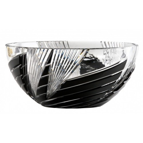 Krištáľová misa Whirl, farba čierna, priemer 250 mm