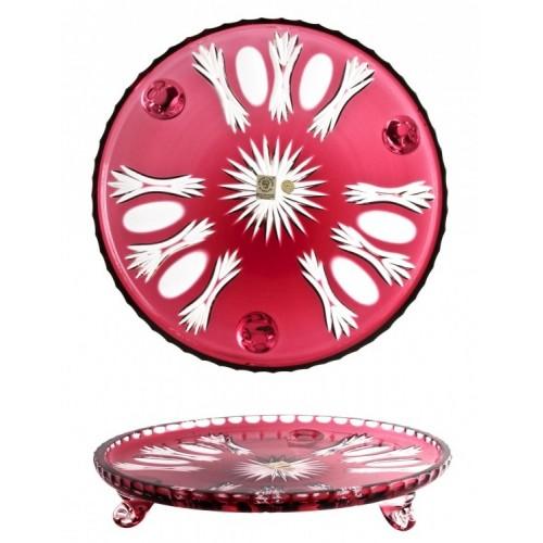Krištáľový tanier Dandelion, farba rubín, priemer 280 mm