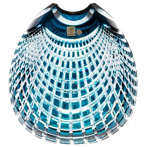 Krištáľová váza Quadrus, farba azúrová, výška 280 mm