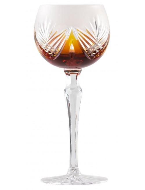 Krištáľový pohár na víno Janette, farba jantárová, objem 190 ml