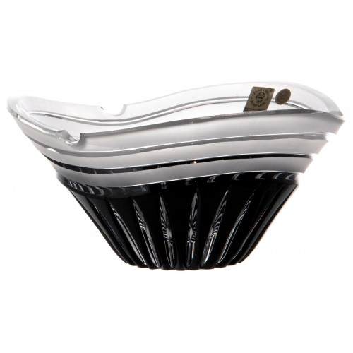 Krištáľový popolník Dune, farba čierna, priemer 180 mm