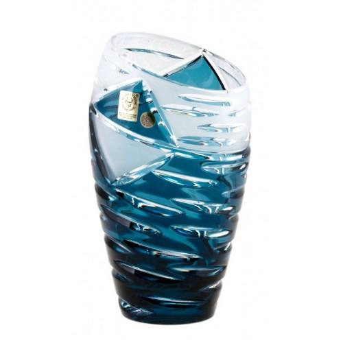 Krištáľová váza Mirage, farba azúrová, výška 180 mm