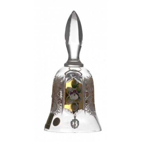 Krištáľový zvonček 500K zlato, farba číry krištáľ, výška 126 mm