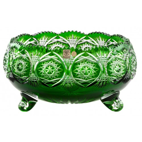 Krištáľová misa Klasika, farba zelená, priemer 280 mm