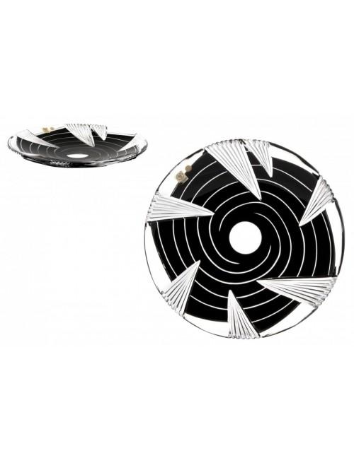 Krištáľový tanier Whirl, farba čierna, priemer 300 mm