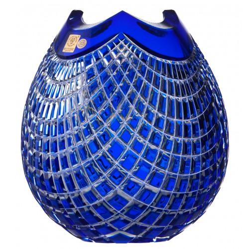 Krištáľová váza Quadrus, farba modrá, výška 210 mm