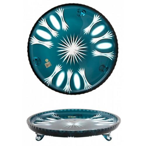 Krištáľový tanier Dandelion, farba azúrová, priemer 305 mm