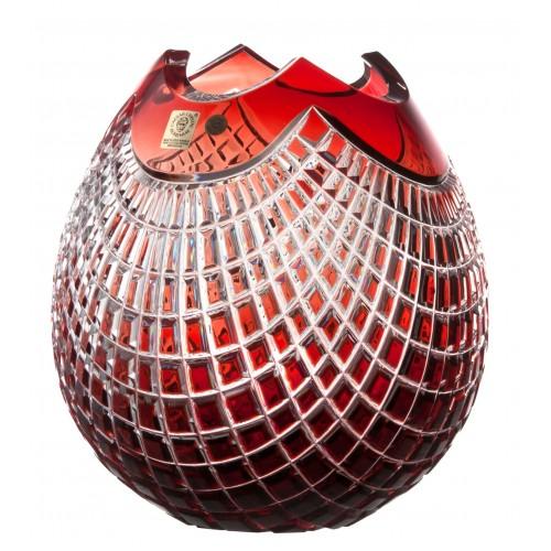 Krištáľová váza Quadrus, farba rubínová, výška 210 mm