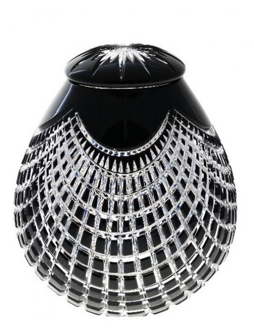 Krištáľová urna Quadrus, farba čierna, výška 290 mm