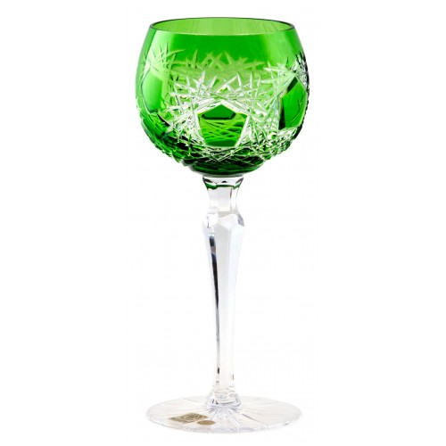 Krištáľový pohár na víno Frost, farba zelená, objem 190 ml