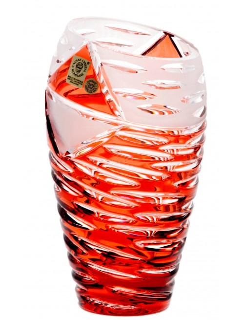 Krištáľová váza Mirage, farba rubínová, výška 180 mm