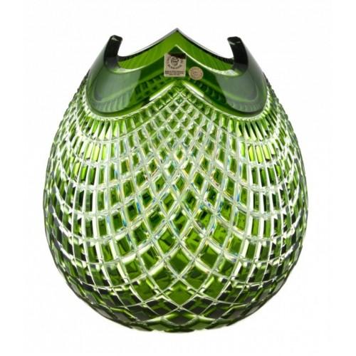 Krištáľová váza Quadrus, farba zelená, výška 210 mm