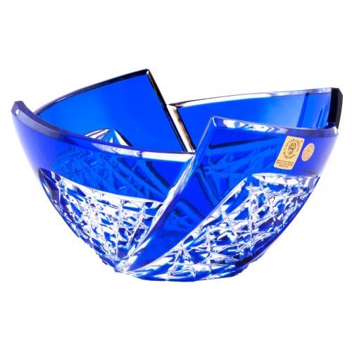 Krištáľová misa Fan, farba modrá, priemer 180 mm