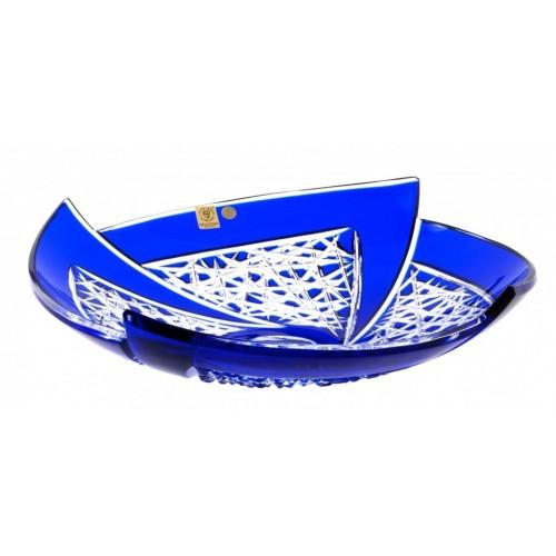 Krištáľová misa Fan, farba modrá, priemer 350 mm