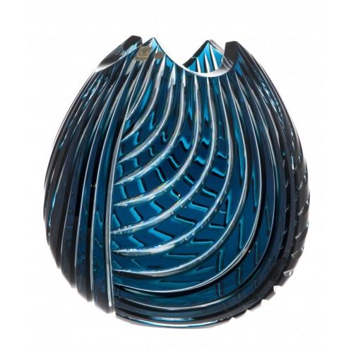 Krištáľová váza Linum, farba azúrová, výška 280 mm