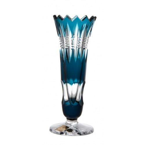 Krištáľová váza Brilant, farba azúrová, výška 175 mm