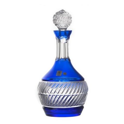 Krištáľová fľaša Nip, farba modrá, objem 1000 ml