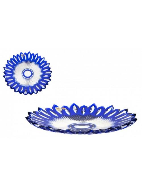 Krištáľový tanier Flame, farba modrá, priemer 300 mm