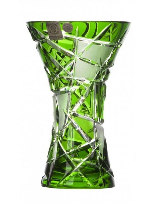 Krištáľová váza Mars, farba zelená, výška 155 mm