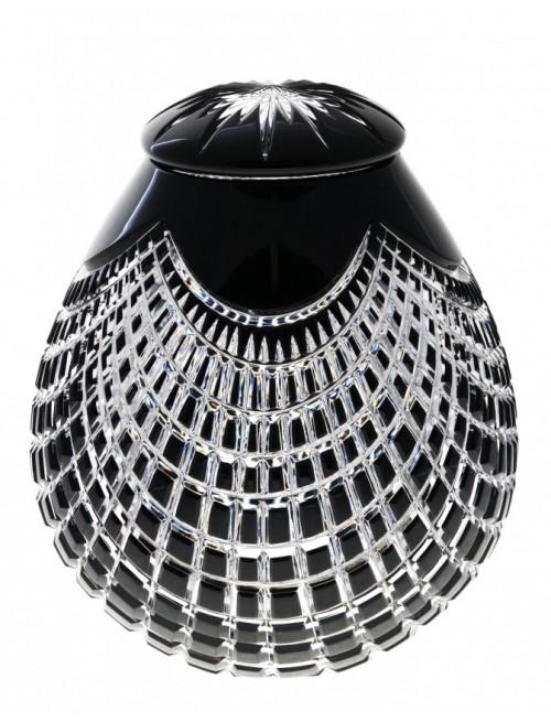 Krištáľová urna Quadrus, farba čierna, výška 230 mm