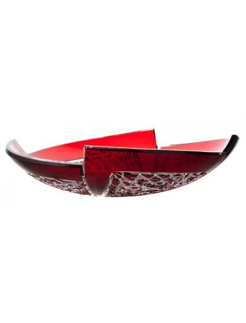 Krištáľová misa Fan, farba rubínová, priemer 350 mm