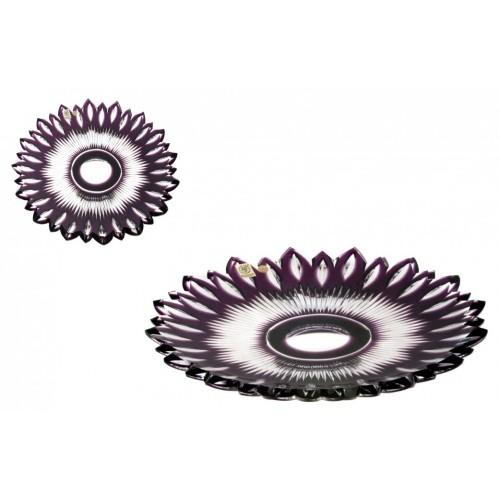 Krištáľový tanier Flame, farba fialová, priemer 300 mm