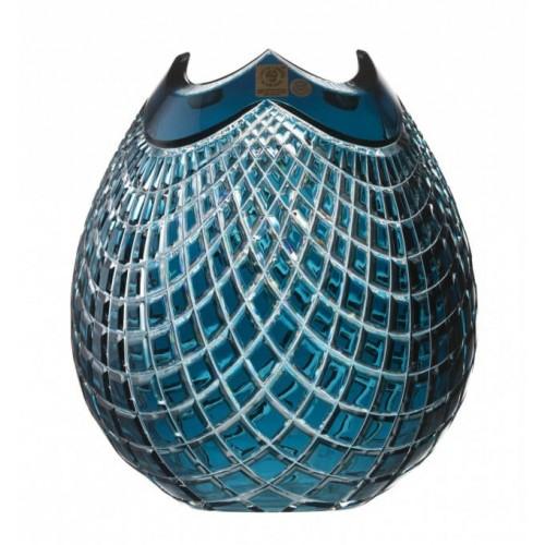 Krištáľová váza Quadrus, farba azúrová, výška 210 mm
