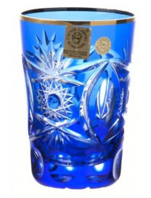 Krištáľový pohár, farba modrá, objem 145 ml