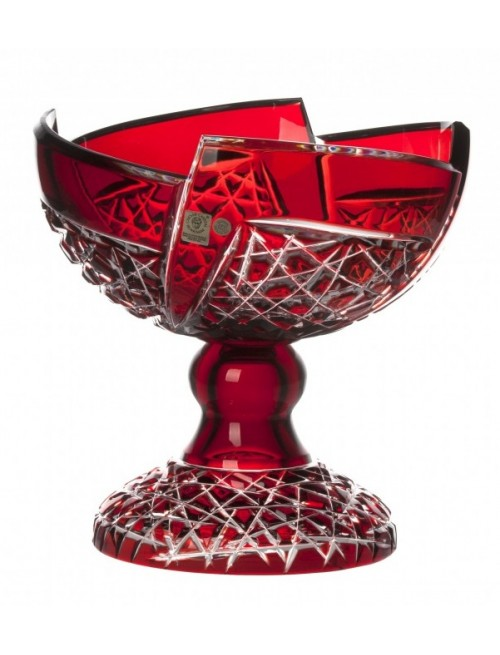 Krištáľová misa na nohe Fan, farba rubínová, priemer 240 mm