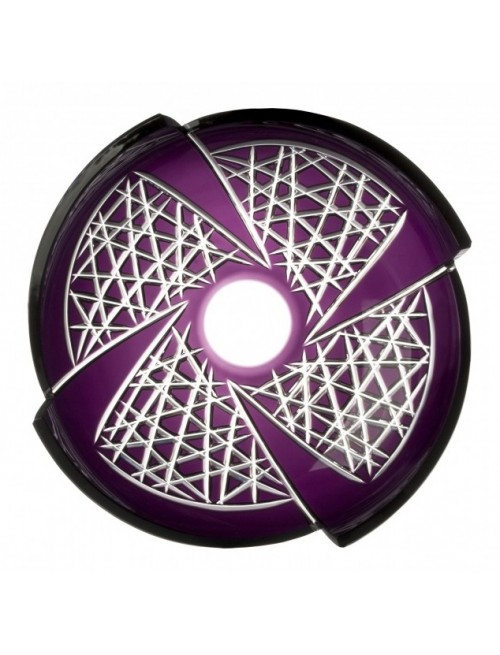 Krištáľová misa Fan, farba fialová, priemer 350 mm