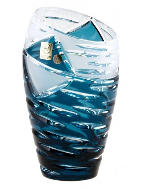 Krištáľová váza Mirage, farba azúrová, výška 230 mm