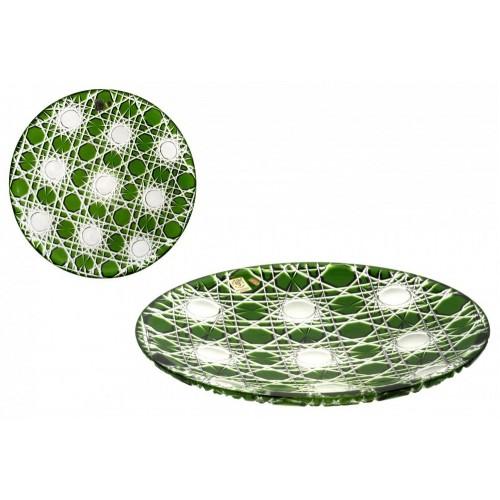 Krištáľový tanier Flake, farba zelená, priemer 300 mm