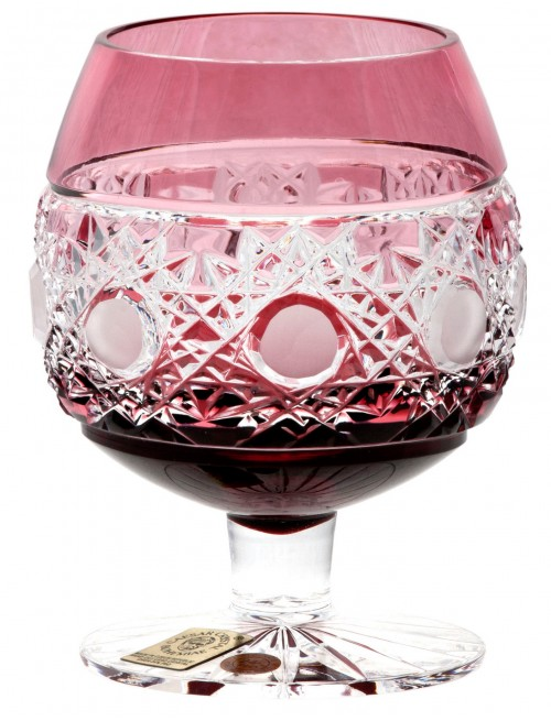 Krištáľový pohár Brandy Flake, farba rubínová, objem 230 ml