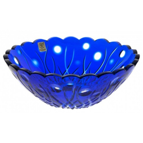 Krištáľová misa Heyday, farba modrá, priemer 230 mm