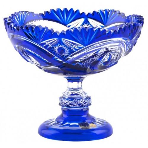 Krištáľová misa na nohe Alice, farba modrá, priemer 200 mm