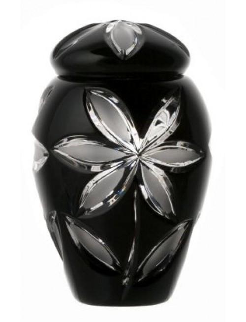 Krištáľová urna Linda, farba čierna, výška 120 mm