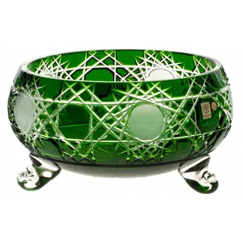 Krištáľová misa Flake, farba zelená, priemer 280 mm