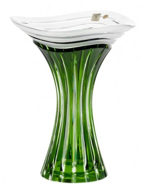 Krištáľová váza Dune, farba zelená, výška 250 mm