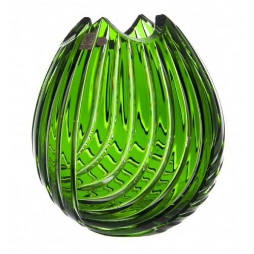Krištáľová váza Linum, farba zelená, výška 210 mm