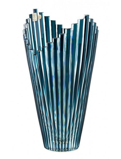 Krištáľová váza Mikado, farba azúrová, výška 310 mm