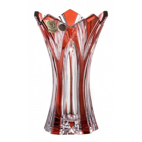 Krištáľová váza Lotos, farba rubínová, výška 155 mm
