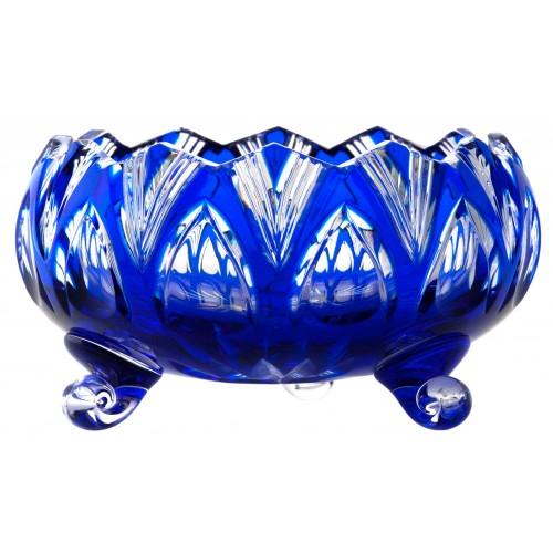 Krištáľová misa Lotos, farba modrá, priemer 155 mm
