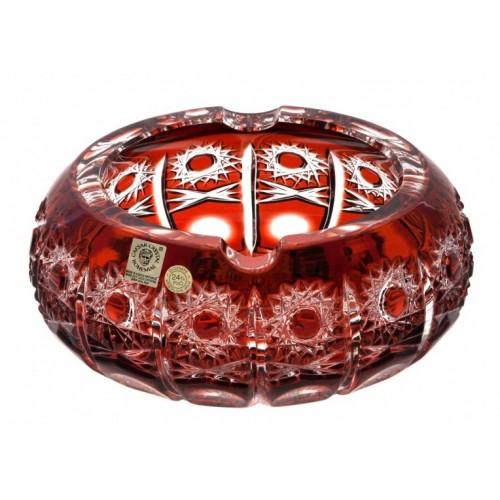 Krištáľový popolník Petra, farba rubín, priemer 130 mm