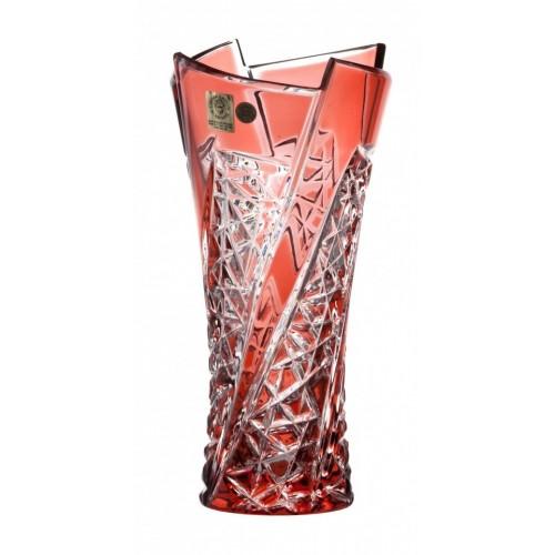 Krištáľová váza Fan, farba rubínová, výška 205 mm
