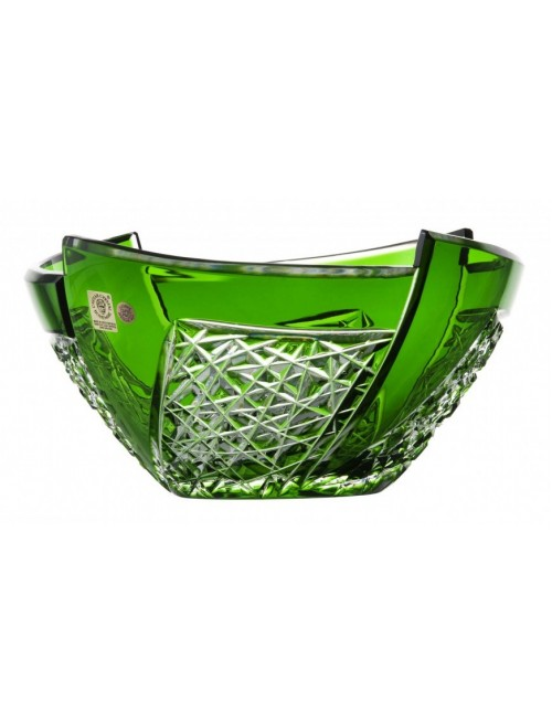 Krištáľová misa Fan, farba zelená, priemer 225 mm