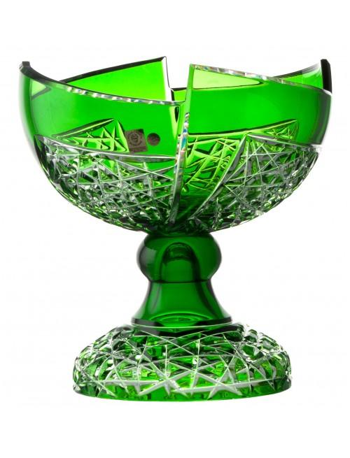 Krištáľová misa na nohe Fan, farba zelená, priemer 240 mm