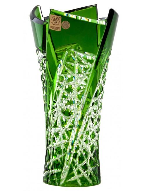 Krištáľová váza Fan, farba zelená, výška 205 mm